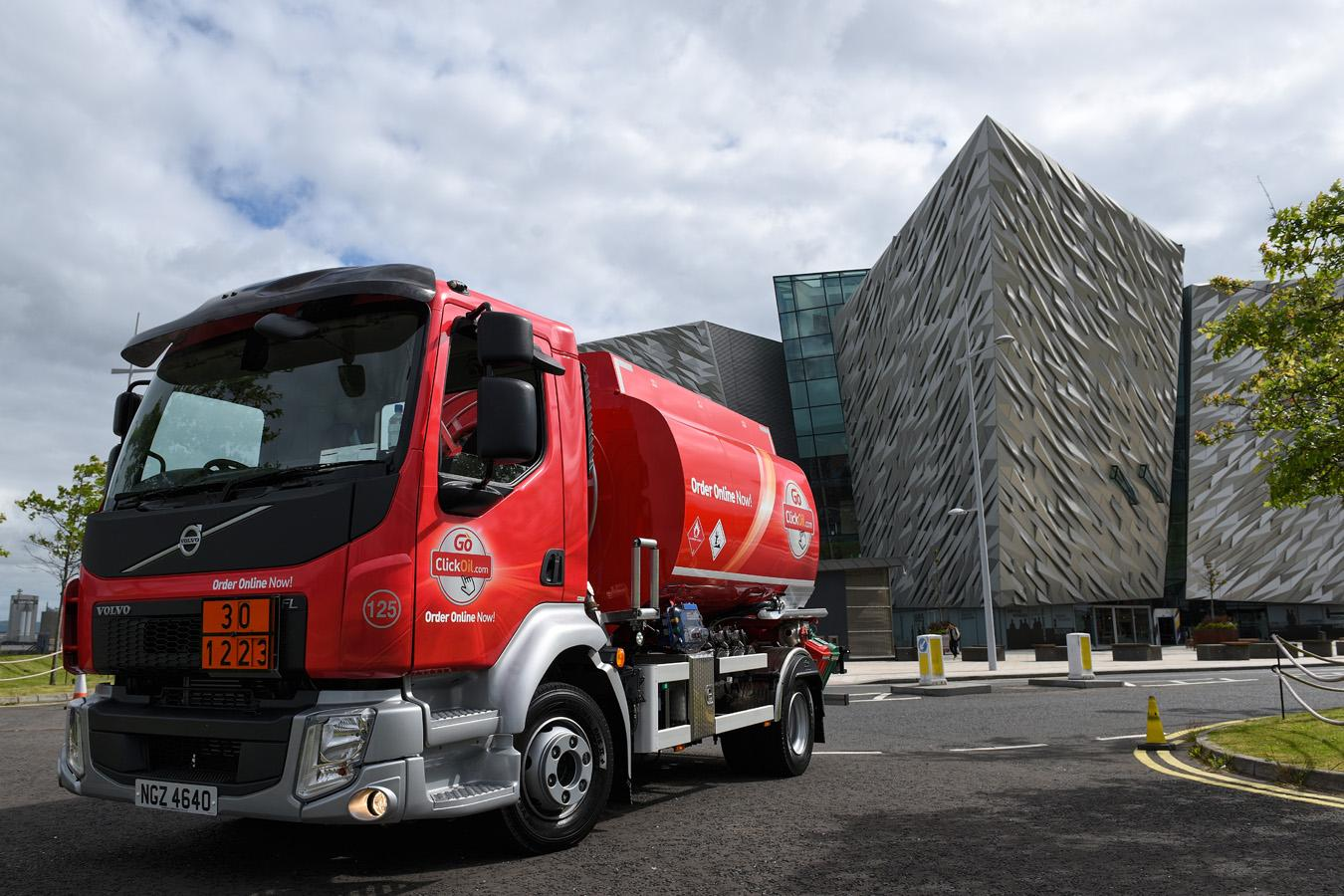 ClickOil.com delivery truck outside Titanic Belfast.